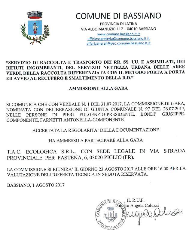 GARA D'APPALTO SERVIZIO RACCOLTA RIFIUTI URBANI - AMMISSIONE ALLA GARA