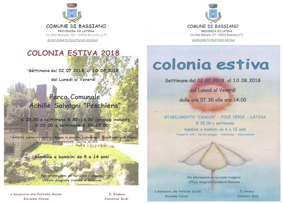 COLONIA ESTIVA 2018 - SCADENZA PRESENTAZIONE DOMANDE ISCRIZIONE MARTEDI' 12 GIUGNO 2018 ORE 12:30