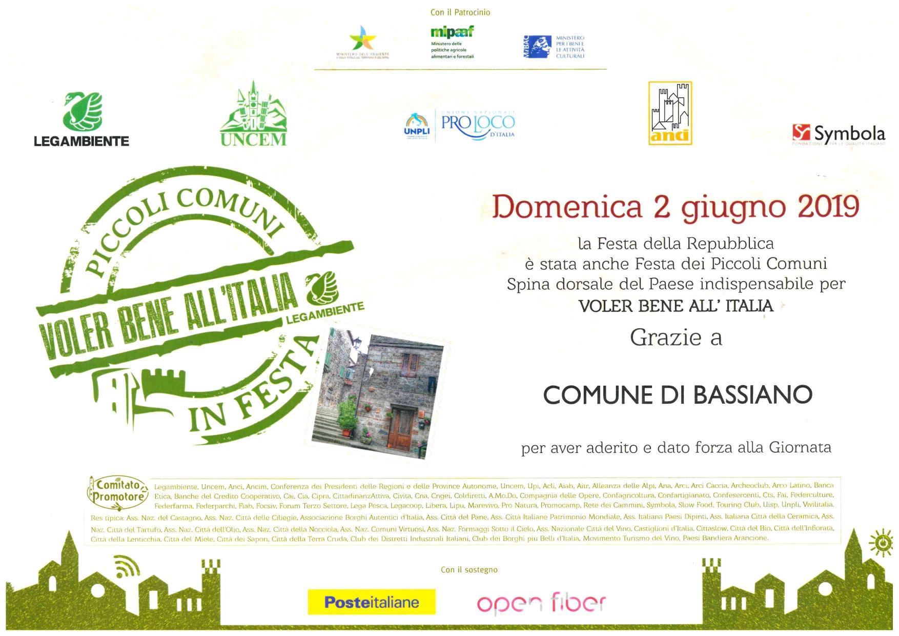 Ringraziamenti al comune di Bassiano da Piccoli Comuni In Festa - Voler bene all'Italia