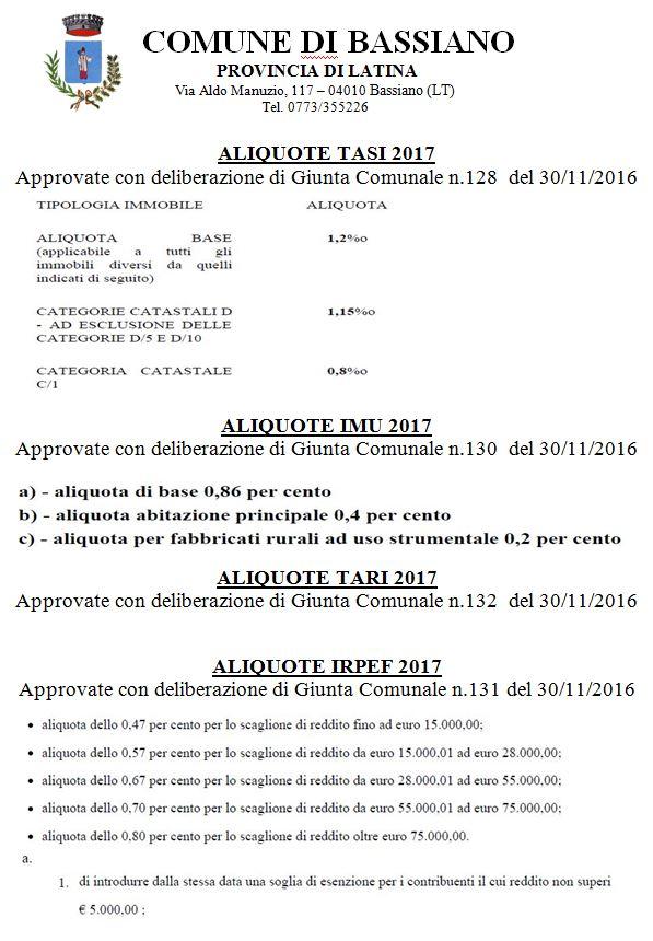 ALIQUOTE TASI - IMU - TARI - IRPEF 2017