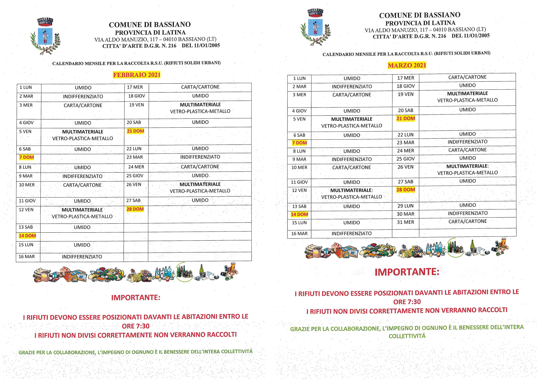 CALENDARIO MENSILE RACCOLTA R.S.U. FEBBRAIO E MARZO 2021