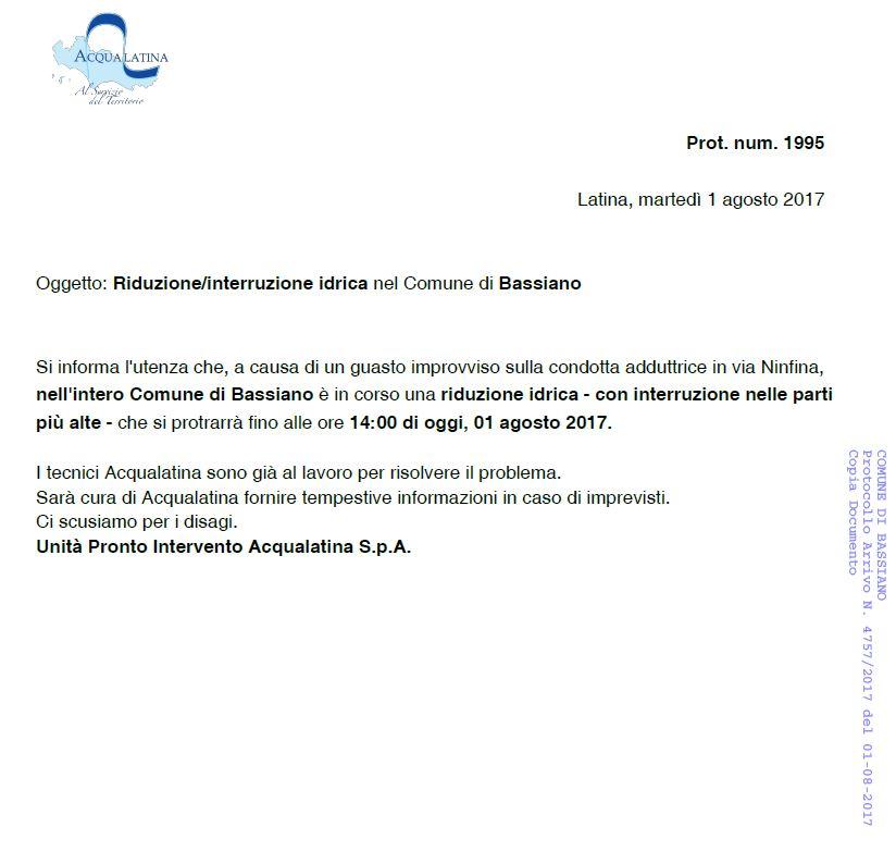 NOTA ACQUALATINA SPA - RIDUZIONE / INTERRUZIONE IDRICA NEL COMUNE DI BASSIANO - 1 AGOSTO 2017