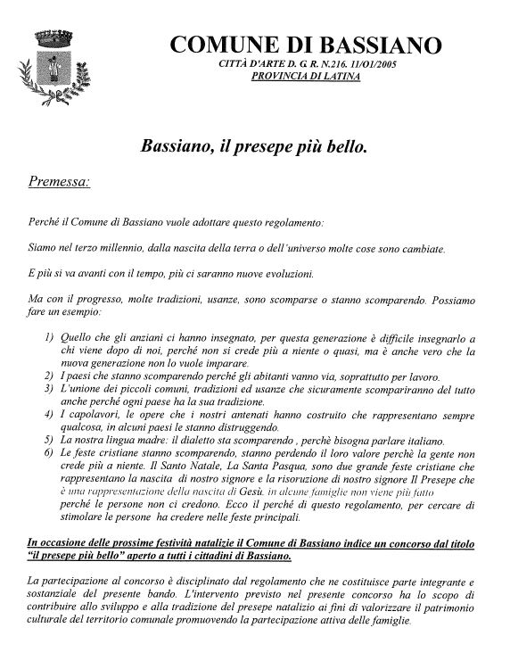 """3° CONCORSO: """"IL PRESEPE PIU' BELLO"""" - SCADENZA PRESENTAZIONE DOMANDE DI PARTECIPAZIONE ORE 12:00 DEL 19 DICEMBRE 2018"""