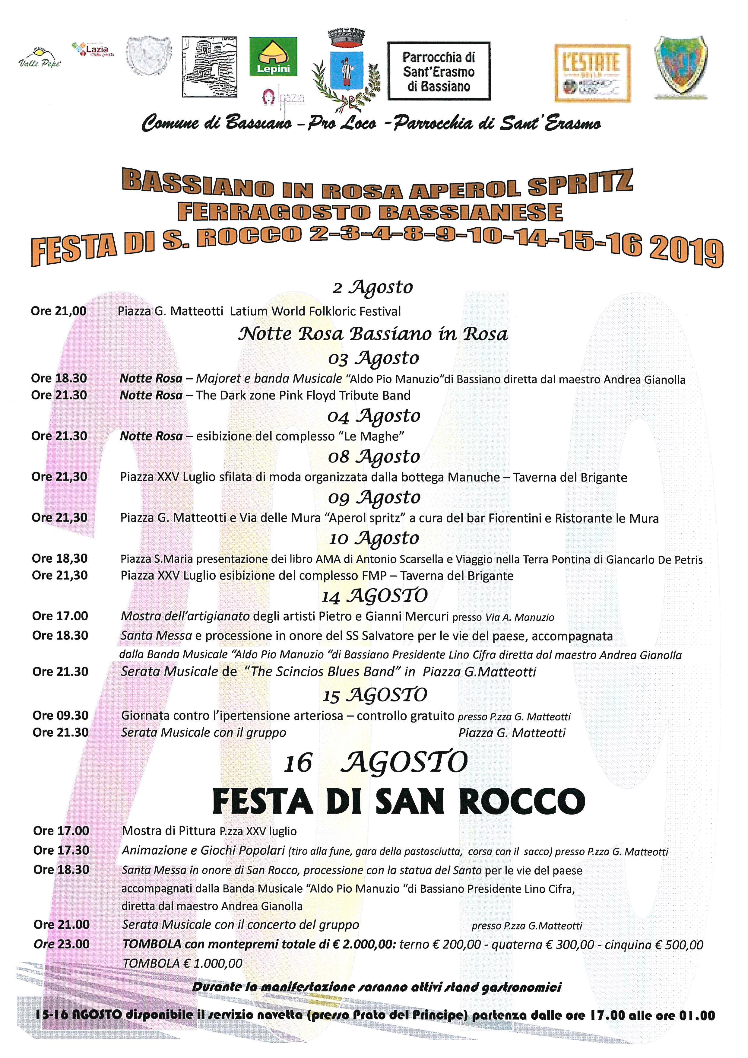 BASSIANO IN ROSA, APEROL SPRITZ, FERRAGOSTO BASSIANESE, FESTA DI SAN ROCCO 2-3-4-8-9-10-14-15-16 2019