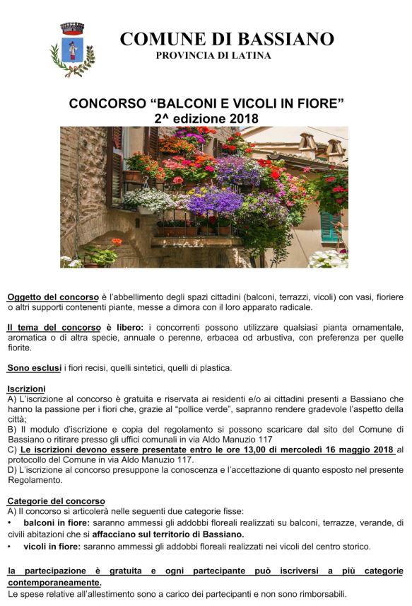 BALCONI E VICOLI IN FIORE  2^ EDIZIONE 2018 - SCADENZA PRESENTAZIONE DOMANDE 16 MAGGIO 2018 ORE 13.00