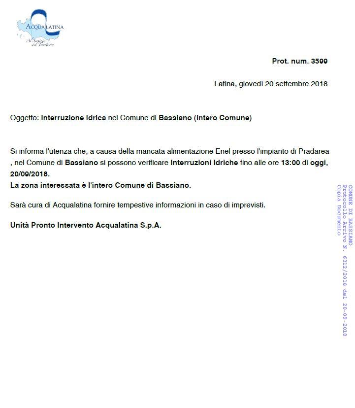 INTERRUZIONE IDRICA NEL COMUNE DI BASSIANO (INTERO COMUNE)