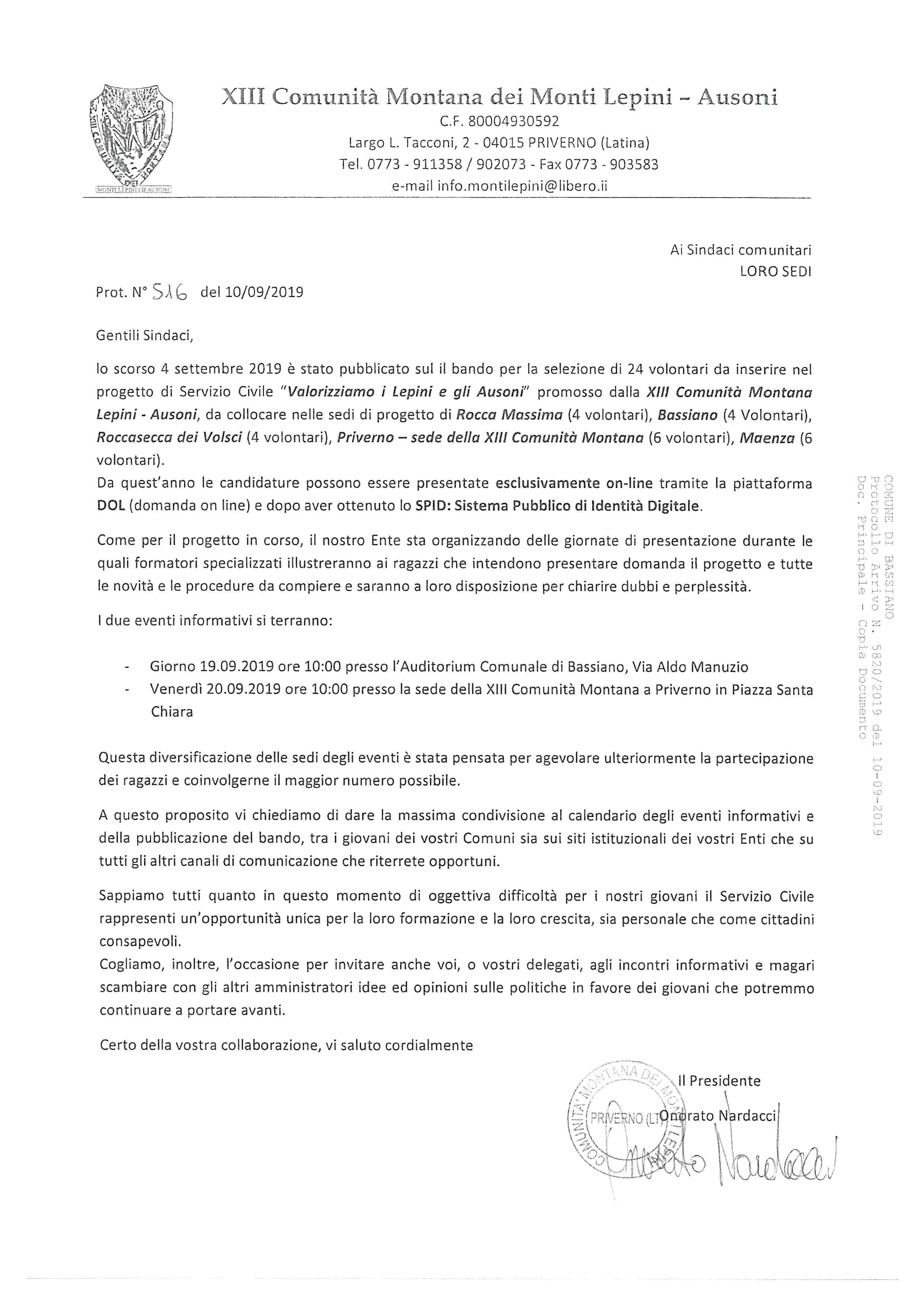 COMUNICAZIONE ATTIVAZIONE PROGETTO SERVIZIO CIVILE 2020 - PROGRAMMA INCONTRI.