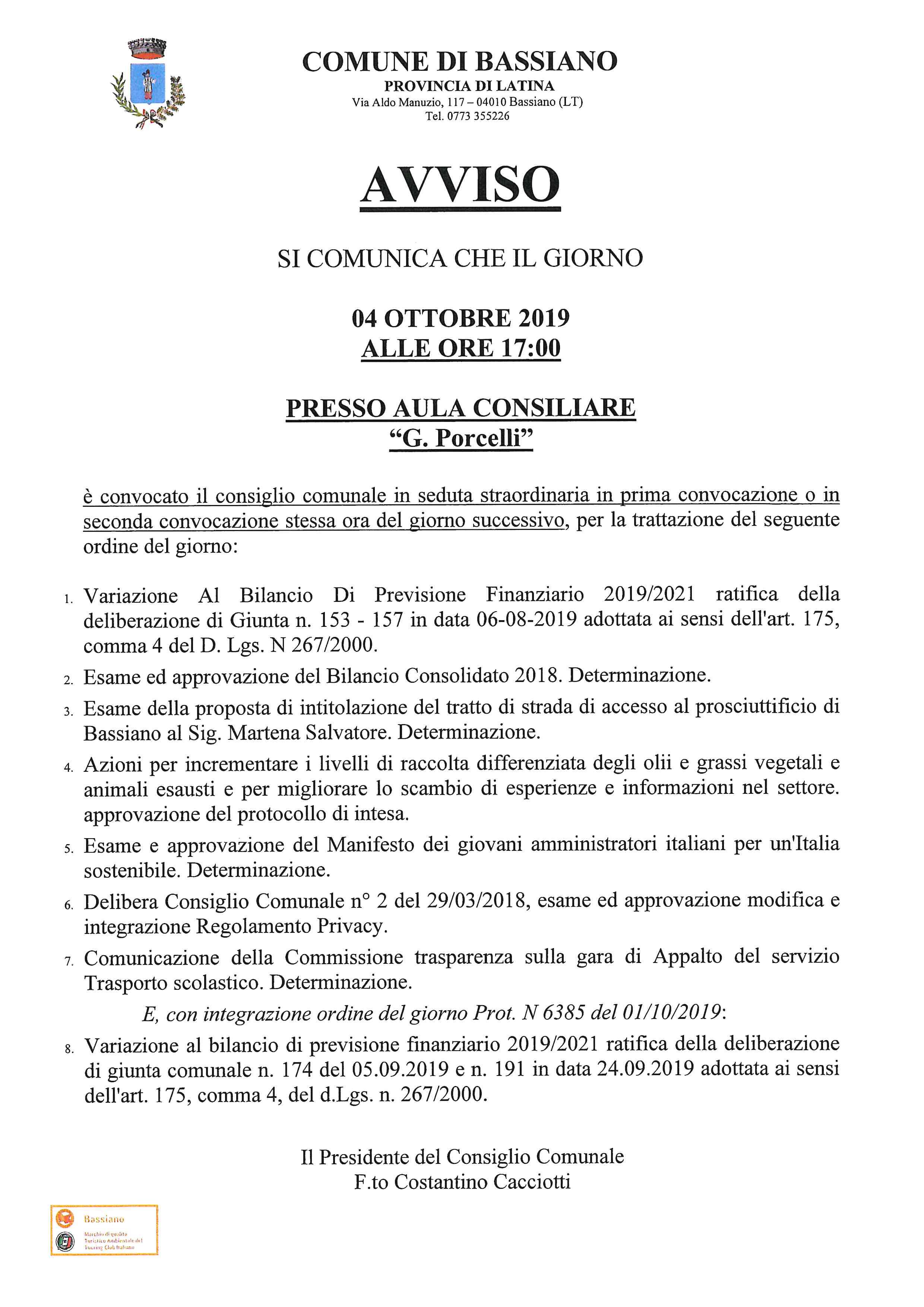 CONVOCAZIONE CONSIGLIO COMUNALE DEL 04 OTTOBRE 2019 ALLE ORE 17:00  PRESSO AULA CONSILIARE  G. PORCELLI