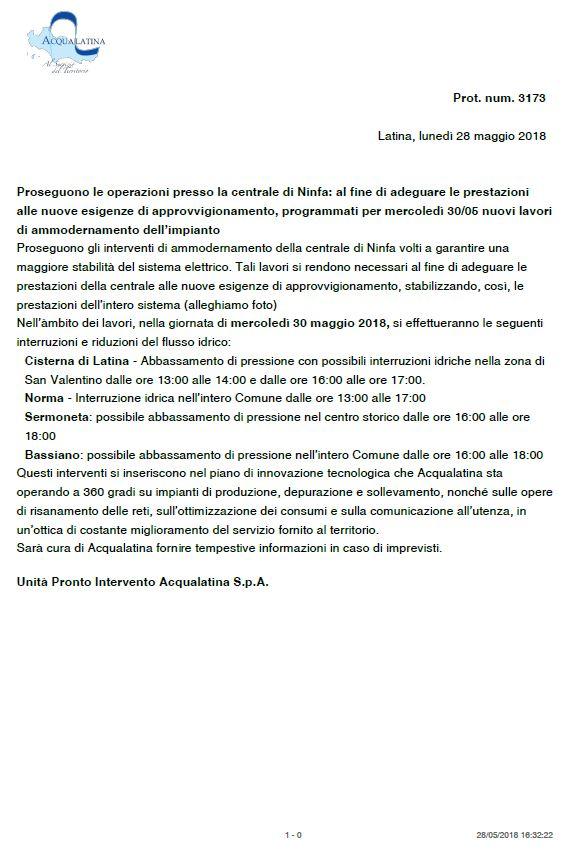 Ammodernamento della centrale di Ninfa - 30 Maggio 2018 -  Possibile abbassamento di pressione nell'intero Comune dalle ore 16.00 alle 18:00