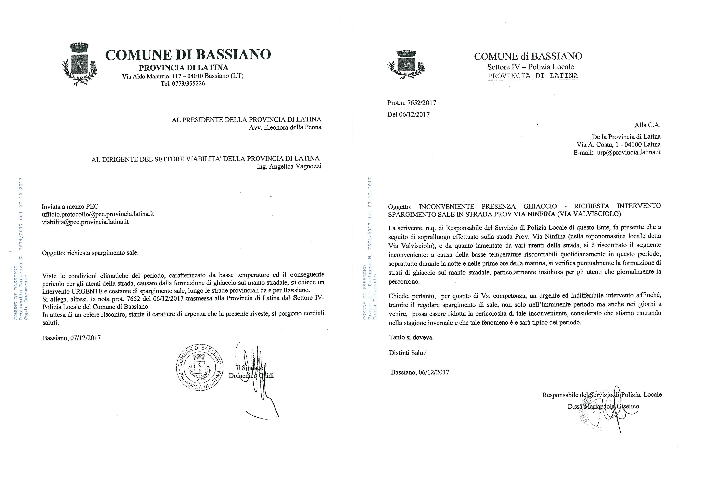 RICHIESTA SPARGIMENTO SALE INVIATA ALLA PROVINCIA DI LATINA