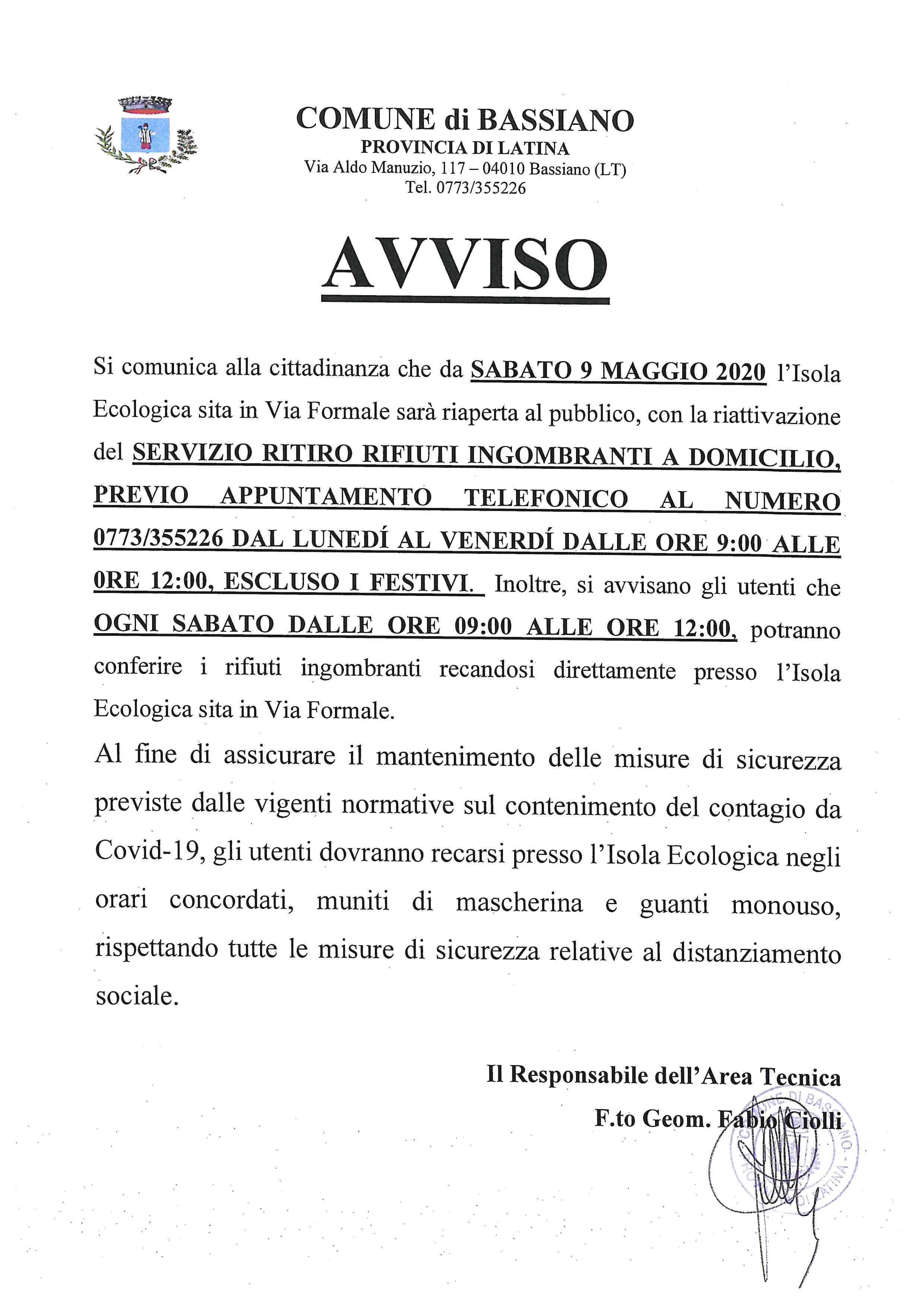 AVVISO RITIRO RIFIUTI INGOMBRANTI