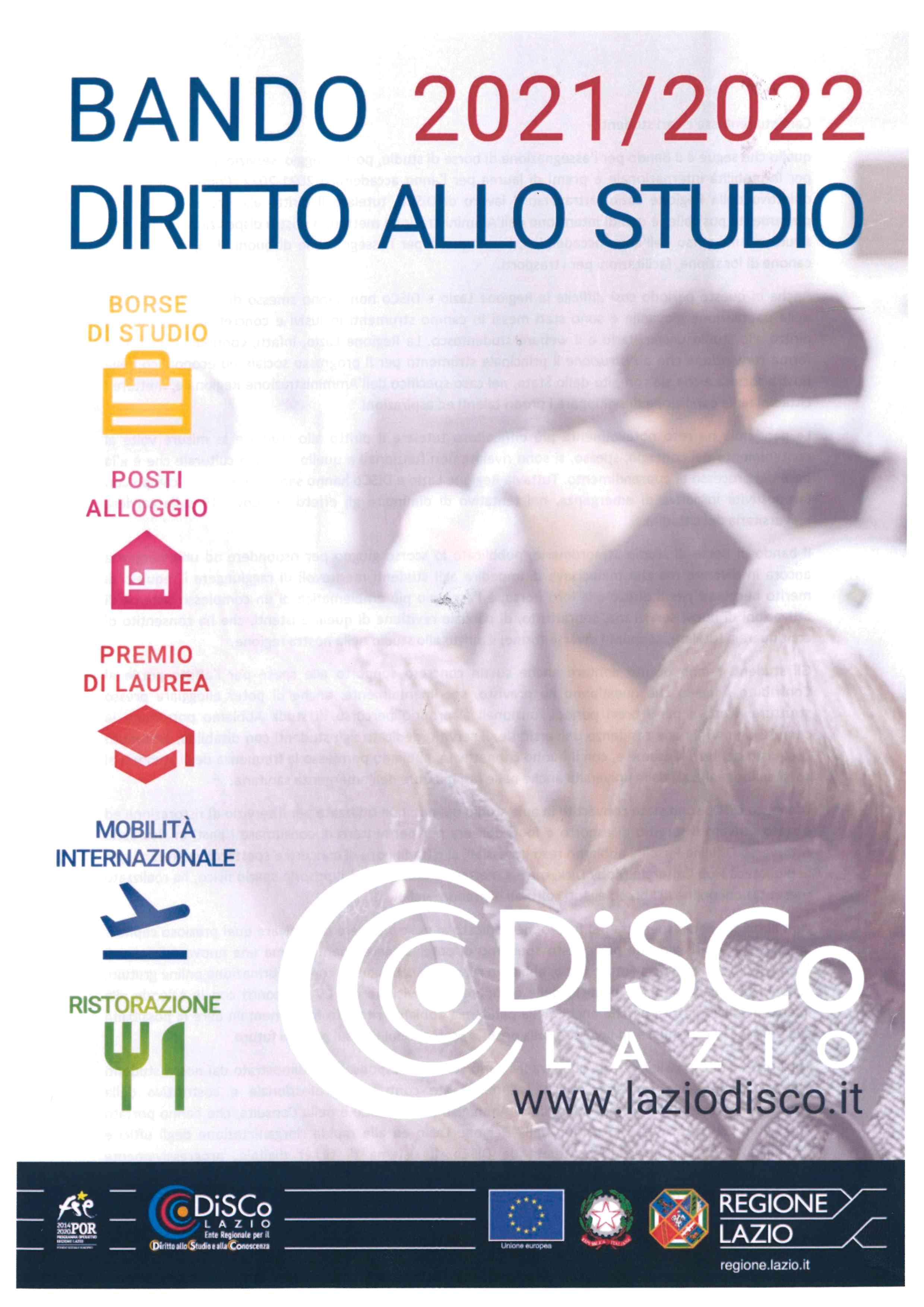 REGIONE LAZIO - BANDO 2021/2022 - DIRITTO ALLO STUDIO