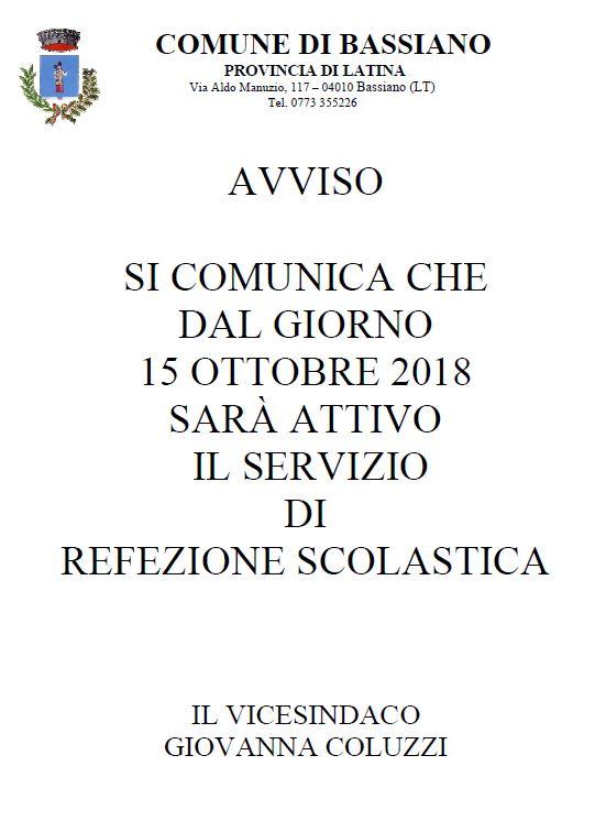 SERVIZIO DI REFEZIONE SCOLASTICA - DATA ATTIVAZIONE SERVIZIO A.S. 2018/2019 - 15 OTTOBRE