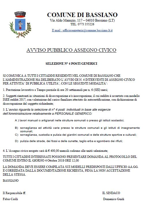 AVVISO PUBBLICO ASSEGNO CIVICO - SELEZIONE N. 4 POSTI GENERICI