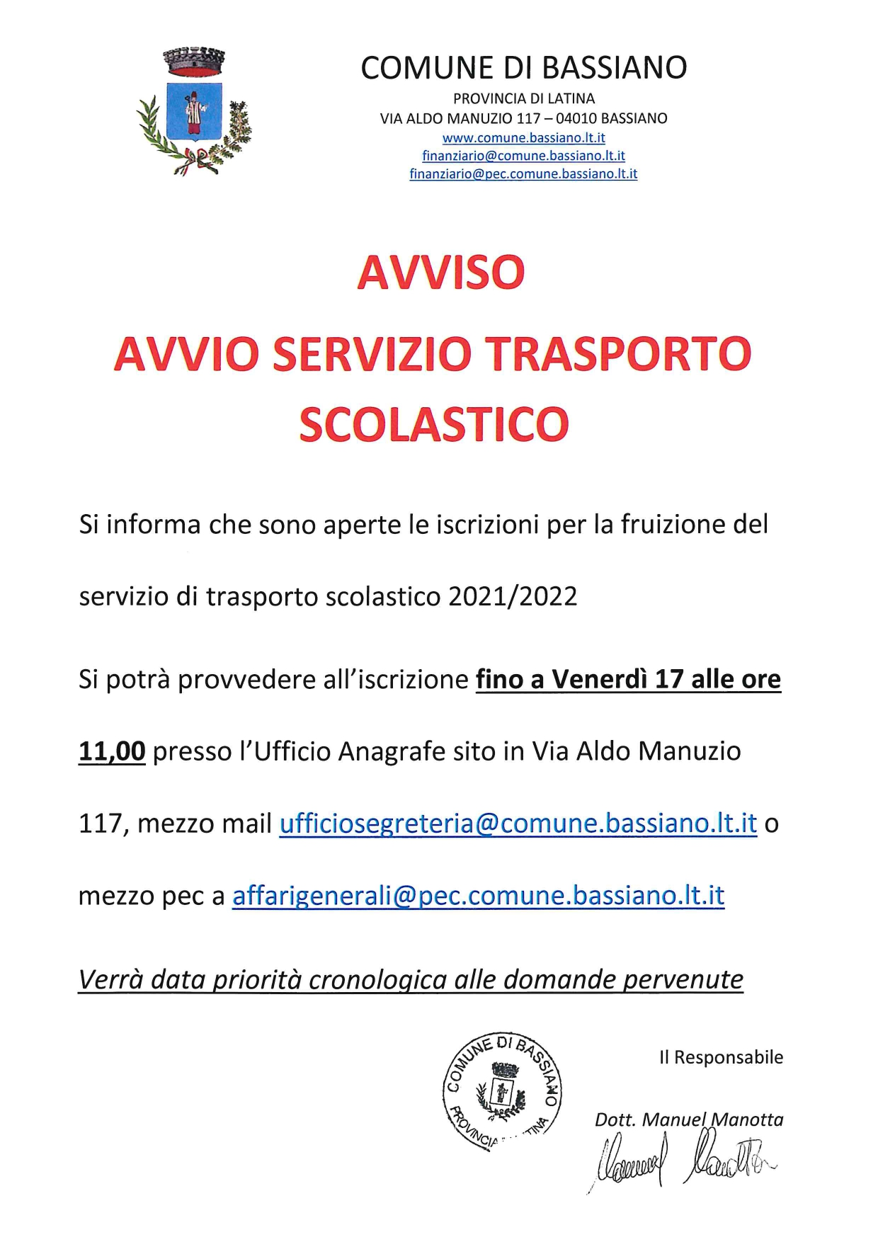 AVVISO  - AVVIO SERVIZIO TRASPORTO SCOLASTICO 2021/2022