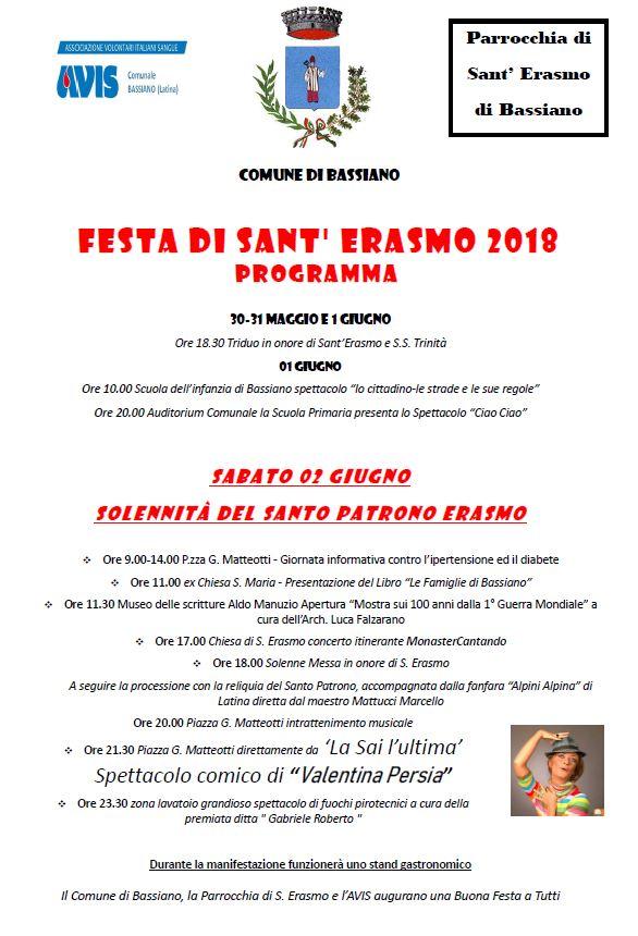 Festa di S.Erasmo 2018 - Programma