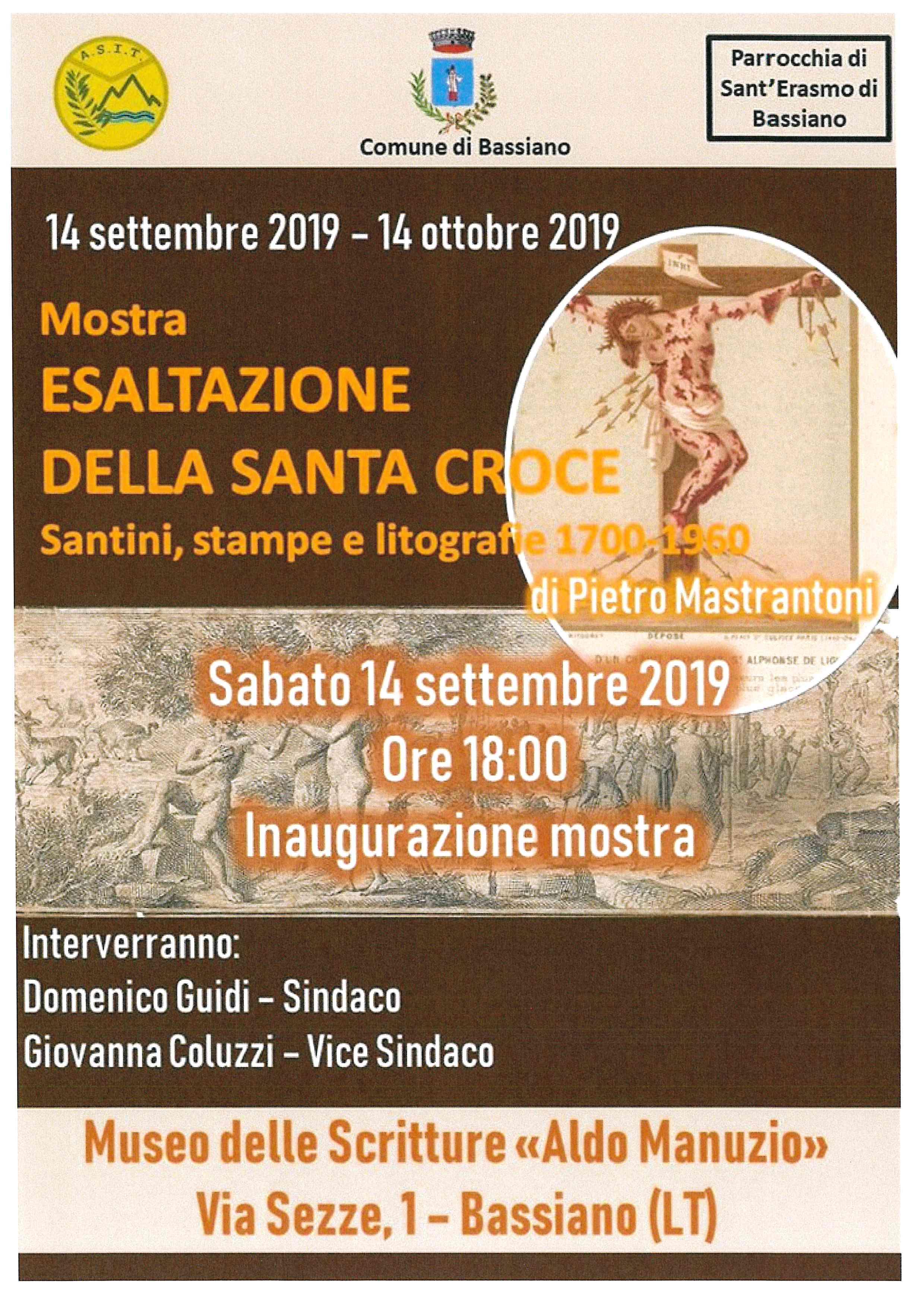 """Sabato 14 settembre 2019 ore 18:00 - Inaugurazione Mostra """"Esaltazione della Santa Croce"""" di Pietro Mastrantoni"""