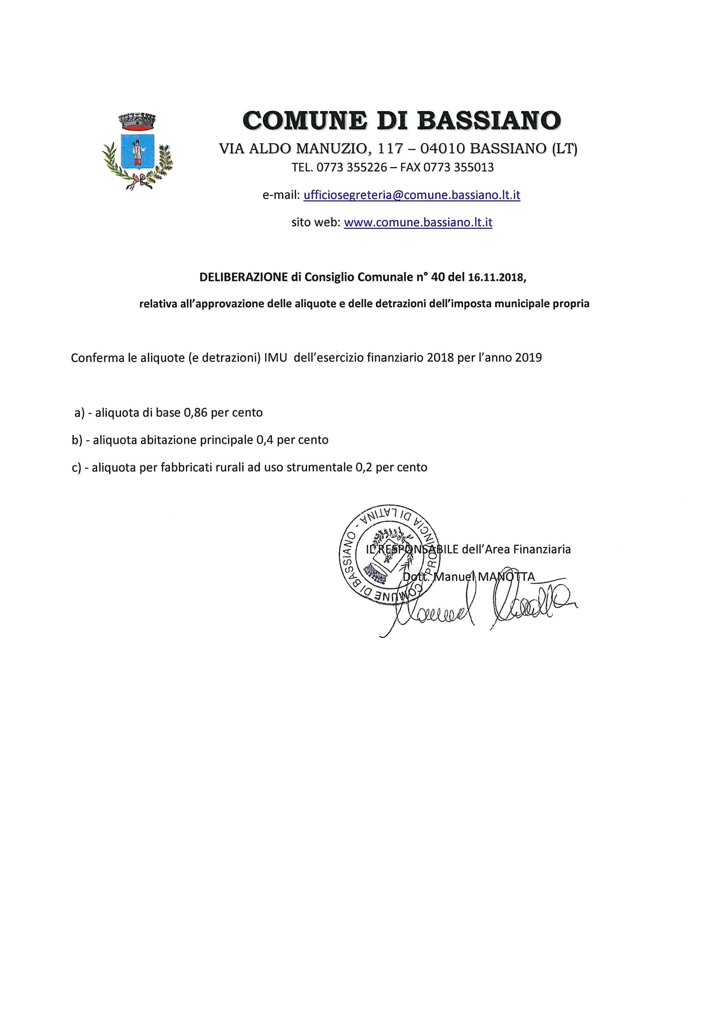 ALIQUOTE IMU ESERCIZIO FINANZIARIO 2019