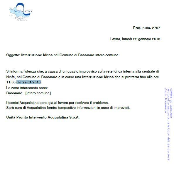 INTERRUZIONE FLUSSO IDRICO INTERO COMUNE 22/01/2018. COMUNICAZIONE ACQUALATINA SPA