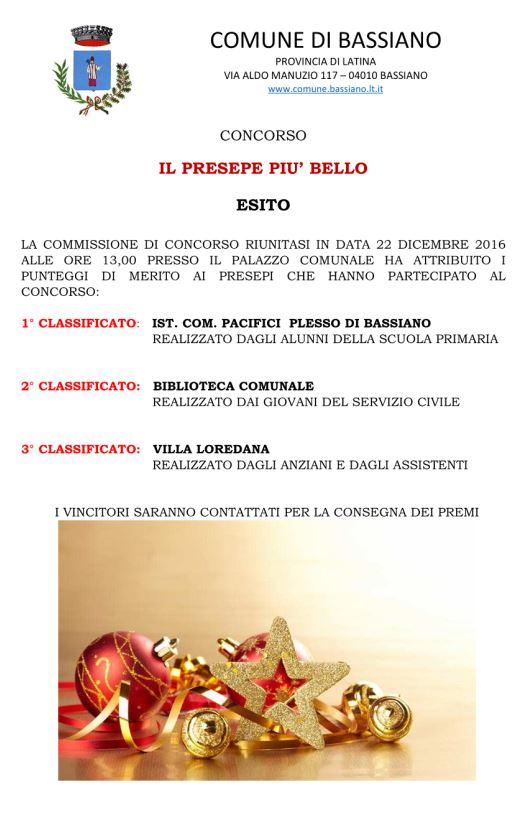 """CONCORSO """"IL PRESEPE PIU' BELLO""""  - ESITO"""